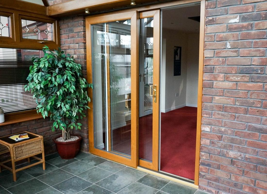 Oak patio door