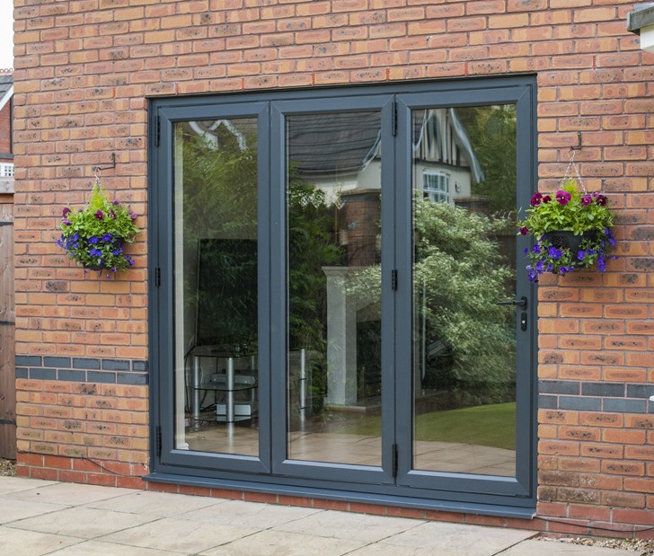 uPVC Grey BiFold - Grosvenor Windows - Horwich - Bolton